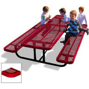 8' Rectangular Children's Picnic Table, Perforated Metal, Red