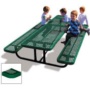 8' Rectangular Children's Picnic Table, Perforated Metal, Green