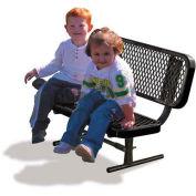 3' Preschool Bench w/Back, Expanded Metal, Black