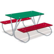 Preschool Multi-Color Polyethylene Table with Galvanized Frame, 3'L