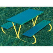 3' Preschool Table with Yellow Frame, Green, Polyethylene
