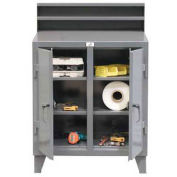 "2 Person Locker Desk, 48""W x 28""D x 54""H, Gray"