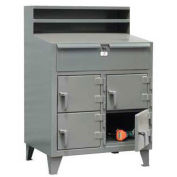 "4 Person Locker Desk, 48""W x 28""D x 54""H, Gray"