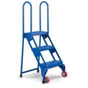 All-Welded VESTIL Lock and Roll Folding Ladders with Wheels - 3 Steps - Steel