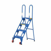 All-Welded VESTIL Lock and Roll Folding Ladders with Wheels - 4 Steps - Steel