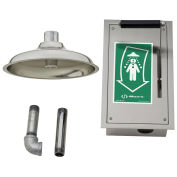 Haws Drench Shower Pull-Down Lever Ball Valve Mounted In Recessed SS Cabinet, Ceiling-Mounted
