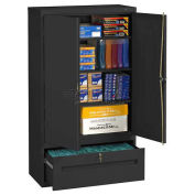 Tennsco Combination Shelf Drawer Cabinet, 36x18x66 1 Drawer, 2 Shelf , Black