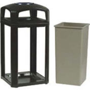 Landmark Series Classic Container, 50 Gal. Dome Top And Ashtray, Sable