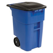 Rubbermaid Brute® Rollout Large Mobile Container, 50 Gallon, Blue with Lid