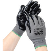 PIP G-Tek® Nitrile Coated Nylon Grip Gloves, Black/Gray, Medium, 12 Pairs