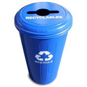 Witt Industries 10/1CTDB Round Steel Recycling Container With Combo Lid, 20 Gallon Cap, Blue
