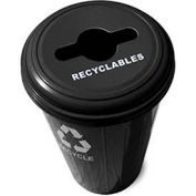 Round Recycling Container With Combo Lid, 20 Gallon Capacity, Steel, Black