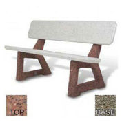 "58"" Residential Concrete Bench, Red Quartzite Top, Gray Limestone Leg"