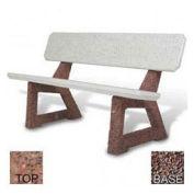 """58"""" Residential Concrete Bench, Red Quartzite Top, Red Quartzite Leg"""