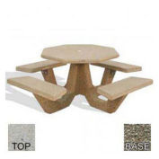 "40"" Concrete Octagon Picnic Table, Tan River Rock Top, Gray Limestone Leg"