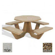 "40"" Concrete Octagon Picnic Table, Tan River Rock Top, Tan River Rock Leg"