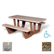 "68"" ADA Rectangular Picnic Table, Gray Limestone Top, Tan River Rock Leg"