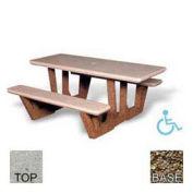 "68"" ADA Rectangular Picnic Table, Tan River Rock Top, Tan River Rock Leg"