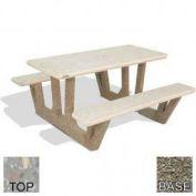 "38"" Concrete Rectangular Picnic Table, Polished Gray Limestone Top, Gray Limestone Leg"