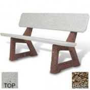 """58"""" Residential Concrete Bench, Tan River Rock Top, Tan River Rock Leg"""