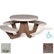 "42"" ADA Concrete Round Picnic Table, Tan River Rock Top, Red Quartzite Leg"
