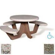 "42"" ADA Concrete Round Picnic Table, White Top, Gray Limestone Leg"