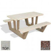 "38"" Concrete Rectangular Picnic Table, Polished Tan River Rock Top, Red Quartzite Leg"