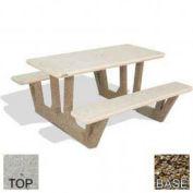"38"" Concrete Rectangular Picnic Table, Polished Tan River Rock Top, Tan River Rock Leg"