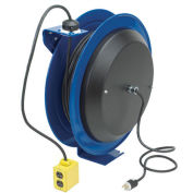 Power Cord Spring Rewind Reel, Single Industrial Receptacle, 100' Cord, 16 AWG
