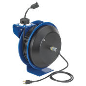 Power Cord Spring Rewind Reel, Single Industrial Receptacle, 35' Cord, 12 AWG