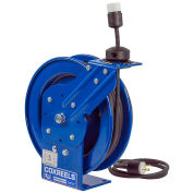Power Cord Spring Rewind Reel, Single Industrial Receptacle, 50' Cord, 12 AWG