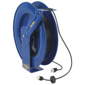Safety Series Spring Rewind Power Cord Reel, Single Receptacle, 100' Cord 12 AWG