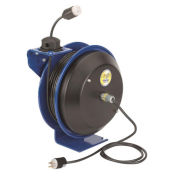 Safety Spring Rewind Power Cord Reel, Single Industrial Receptacle, 50' Cord 12AWG