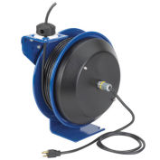 Power Cord Spring Rewind Reel, NO Cord & Accessory, 12 AWG, 75' Capacity