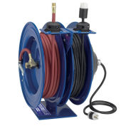 "Dual Purpose Electric/Air Spring Rewind Reel, 50' x 3/8"" I.D. Hose, Fluorescent Tube Light, 16 AWG"