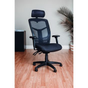 Multifunction Office Chair With Adjustable Headrest, Mesh Back, Fabric Upholstered Seat