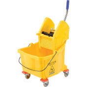 Carlisle® Flo-Pac® Bucket With Down Press Wringer, 26-35 Qt - Yellow