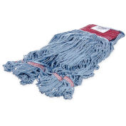 Carlisle 369454B14 Flo-Pac Large Looped-End Mop With Red Band, Blue - Pkg Qty 12