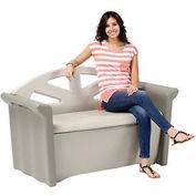 Outdoor Patio Bench Storage Deck Box 4 Cubic Feet, Olive/Sandstone