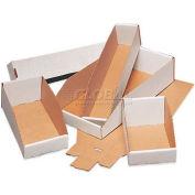 """Open Top White Corrugated Bin Boxes, 4"""" x 15"""" x 4-1/2"""", BINMT415 - Pkg Qty 50"""