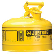 Justrite 7125200 Safety Can Type I-2-1/2 Gallon Galvanized Steel, Yellow