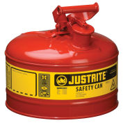 Justrite 7125100 Safety Can Type I, 2-1/2 Gallon Galvanized Steel, Red