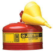 Justrite 7125110 Safety Can Type I-2-1/2 Gallon Galvanized Steel with Funnel, Red