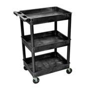 "Luxor Tray Top Shelf 3 Shelf Plastic Utility Cart, 4"" Casters, 24""L x 18""W x 38-1/2""H"