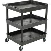 "Luxor Tray Top Shelf 3 Shelf Plastic Utility Cart, 4"" Casters, 32""L x 24""W x 37-1/2""H"