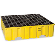 "EAGLE Polyethylene Containment Pallet - 51x52-1/4x13-3/4"" - 4-Drum Capacity - Yellow"