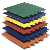 "Virgin Rubber Interlocking Tile with Hammered Surface, 24""L x 24""W x 3/8""H, Orange"