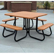 Recycled Plastic Square Picnic Table, Red