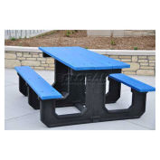Recycled Plastic Picnic Table, Blue, 6'