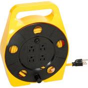 Bayco Quad Plug Cord Reel, 16/3 GA, 25'L Cord, Yellow